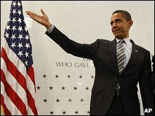 President Barack Obama gestures after addressing CIA staff on 20 April, 2009