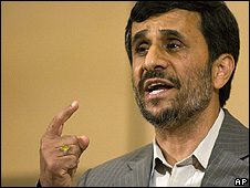 Iranian President Mahmoud Ahmadinejad at the UN anti-racism conference, 20 April 2009