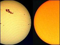 Фотографии Солнца (слева - 2001 год, справа - 2007)