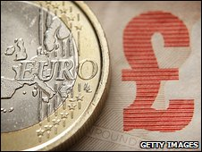 Euro coin and a pound sign