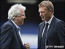 Everton chairman Bill Kenwright and club manager David Moyes