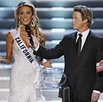 Carrie Prejean (L), at the Miss USA beauty pageant with presenters Billy Bush and Nadine Velazquez