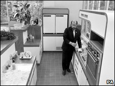 The late Clement Freud - a noted food writer - in his kitchen, 1973
