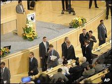 Mahmoud Ahmadinejad addresses UN conference