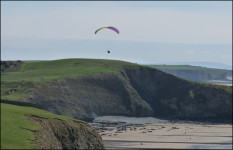 A paraglider soars above Southerndown beach in the Vale of Glamorgan (Dave Wallace).