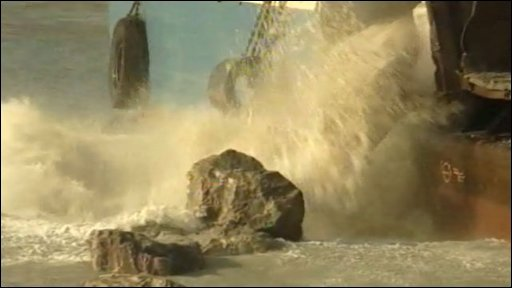 Boulders loaded into the sea at Hastings