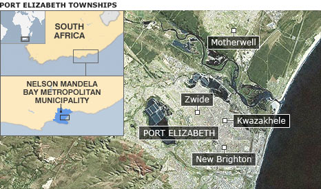Map showing Port Elizabeth and nearby townships