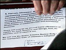 Document revealed by Hazel Blears