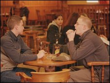 Students in a bar in Liverpool in 2001