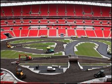 Wembley being prepared for Race of Champions in 2007