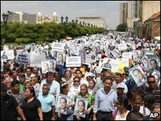 Supporters of Mr Rosales march in Mracaibo on 20 April