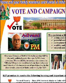BJP campaign literature in the US