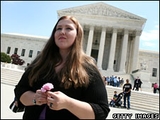 Savana Redding standing outside the US Supreme Court building