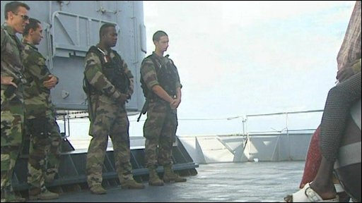French military aboard warship
