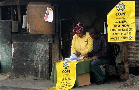 Cope workers in the township of Khayelitsha, outside Cape Town