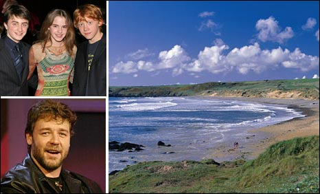 Harry Potter cast; Russell Crowe and Freshwater West (Pic courtesy of Pembs County Council)