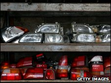 Lights salvaged from scrapped cars