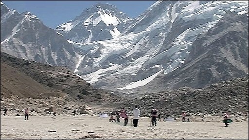 Cricketers play a game of Twenty20 on the side of Mount Everest