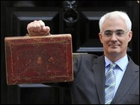 Chancellor Alistair Darling holding the budget box outside Number 11 Downing Street on 22 April 2009