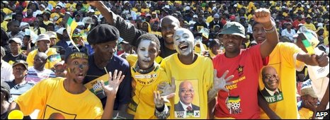 Zuma supporters at Ellis Park stadium in Johannesburg, 19/04