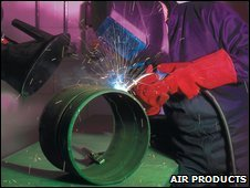 Welder at Acrefair plant