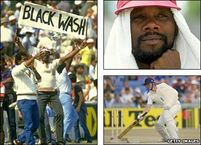 "West Indian supporters celebrate a ""blackwash"", Malcolm Marshall plays it cool while Hampshire team-mate Paul Terry (bottom right) has a less enjoyable time batting one-handed"