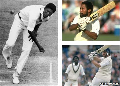 Joel Garner (left) was West Indies' man of the series, while Andy Roberts (top right) helped win the first Test with the bat, and Ian Botham (bottom right) led England for the first time