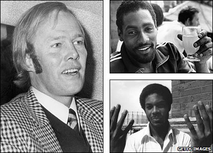 Tony Greig (left) was soon to desert England for Kerry Packer's World Series Cricket, while Viv Richards (top right) hit two double hundreds and Michael Holding (bottom right) celebrates his eight-wicket haul at The Oval