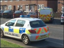 The scene outside Ros Figg's home in Coventry