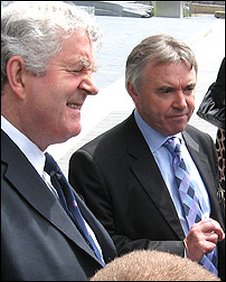 Rhodri Morgan and Ieuan Wyn Jones outside the Senedd