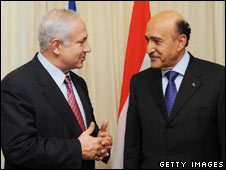 Israeli PM Benjamin Netanyahu (left) and Egyptian intelligence chief Omar Suleiman in Jerusalem