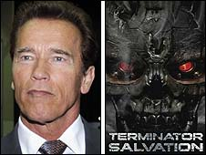 Arnold Schwarzenegger with Terminator Salvation poster