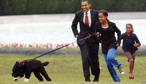 The Obamas and their dog