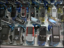 Phones on display, BBC