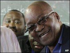 Jacob Zuma, casting his vote on 22 April