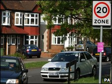 20mph limit in a road in Morden