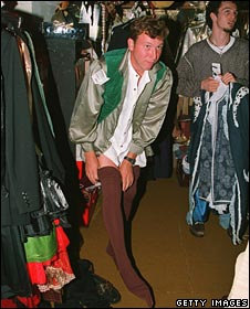 Mike Atherton dressing up as Robin for an England cricket team fancy dress party in the 1990s