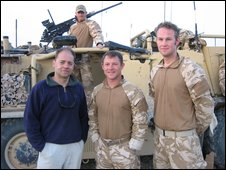Gareth Jones with L/Cpl Daniel 'Louie' Lewis, Sgt Maj Rob 'Manse' Mansel and L/Cpl Matthew Hartt