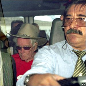 Ronnie Biggs (left) on his way back to Britain in 2001