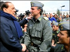Italian Prime Minister Silvio Berlusconi in the central Abruzzo region, 12 April 2009