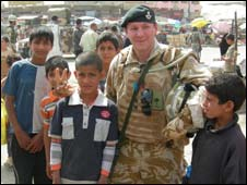 Maj Dickie Head with Iraqi children in Basra