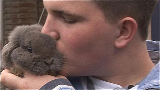 Mathew Haslam and his rabbit
