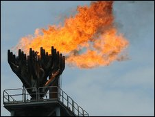 gas flare at oil rig