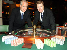 Phil Urban, managing director of Grosvenor Casinos (left), with Daniel Gidney head of Ricoh Arena