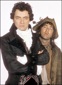 Rowan Atkinson as Edmund Blackadder Tony Robinson as Baldrick in the comedy sitcom