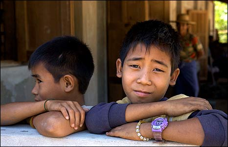 Htun Aung Kyaw (R) - image copyright Save The Children
