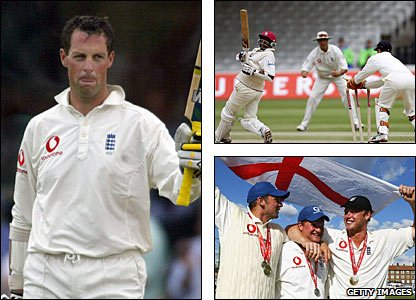 Marcus Trescothick (left) scored a century in each innings at Edgbaston; Tino Best (top right) is memorably stumped by Geraint Jones; (bottom right, left to right) Steve Harmison, Rob Key and Andrew Flintoff celebrate a 4-0 series win at The Oval