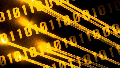 Binary code and fibre optic cables