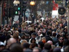Crowds on Oxford Street, London