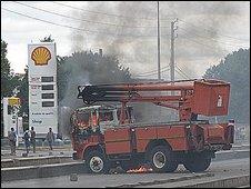 Burning lorry, Antananarivo
